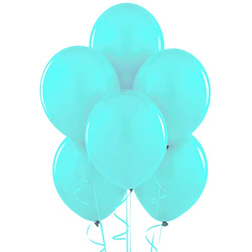 12 Inch Latex Balloons (Premium Helium Quality), Pack of 100, Pastel Turquoise Blue (Tiffany)