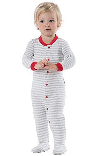 PajamaGram Gray Stripe Dropseat Infant Pajamas 12MO