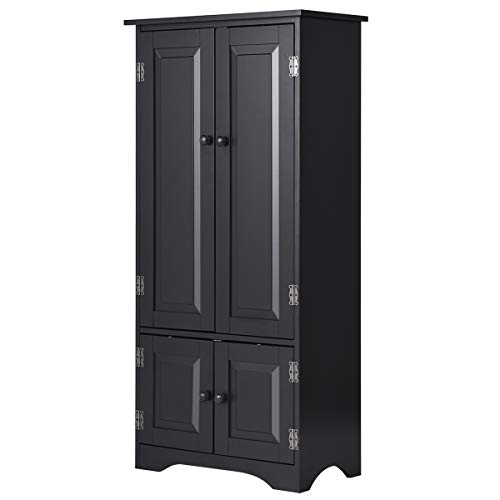 - Giantex Accent Floor Storage Cabinet Adjustable Shelves Antique 2-Door Low Floor Cabinet Pantry 24