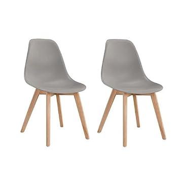 sacha lot de 2 chaises de salle a manger design scandinave gris - Chaise Salle A Manger Design 2