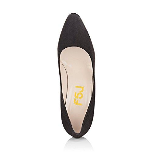 Fsj Women Classic Scarpe A Punta Chiusa Grandi Tacchi Alti Slip On Faux Suede Dress Shoes Taglia 4-15 Us Black