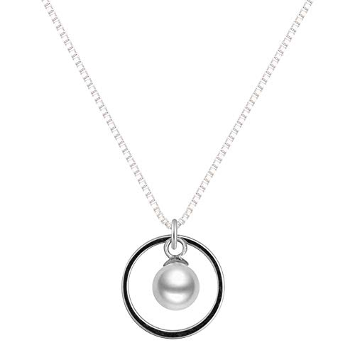 Single Pearl Circle Necklace Pendant Geometric Simple Imitation Pearl Round Rings Necklace Choker for Women Girls(circle/pearl) ()