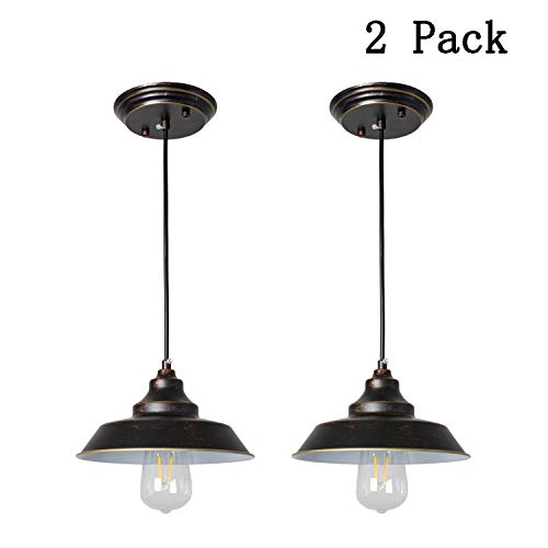 One-Light Indoor Chandelier 2 Pack, Oil Rubbed Bronze Finish & Highlights with Metal Shade Iron Hill One-Light Indoor Pendant