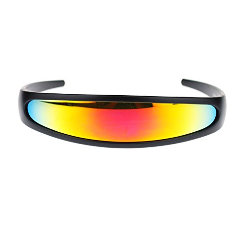 mirrored Color Mirror Lens Monolens Cyclops Robotic Futuristic Sunglasses Black - Futuristic Glasses