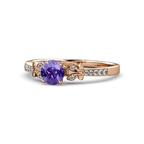 Iolite & Diamond Milgrain Work Butterfly Engagement Ring ...