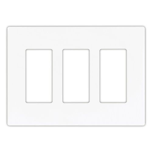 Eaton PJS263W Decorator Screwless Wallplate, 3-Gang, (3 Gang Switch Cover)