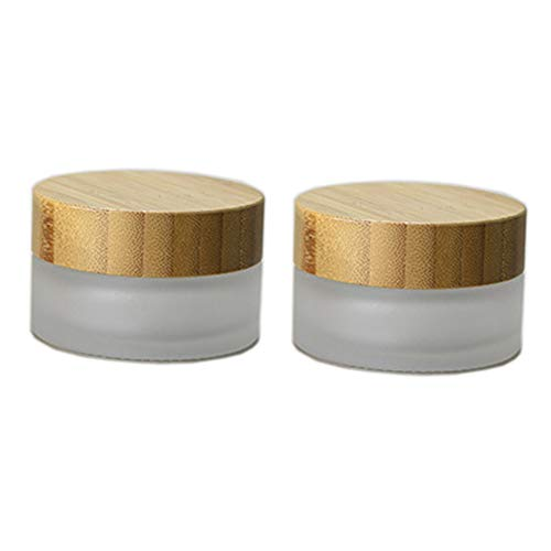 2 Pieces 30ml /30g Frosted Glass Cream Jars Environmental Bamboo Lid Frosted Glass Bottle Cream Jars with Inner Liner Empty Cosmetic Comtainer Refillable