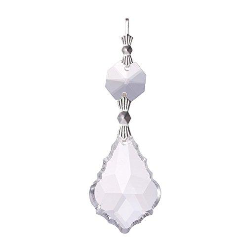 Gardening Angel Pins - VT BigHome 10PCS Clear 38cm French Leaf Silver Bowtie Chakra Spectra Suncatcher Chandelier Glass Crystals Lamp Prisms Parts Hanging Pendant