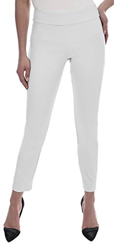 8d0338726a3 Galleon - Krazy Larry Women s Pull On Ankle Pants White 2