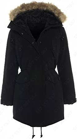 Womens Parka Black Coat 10 - 16: Amazon.co.uk: Clothing