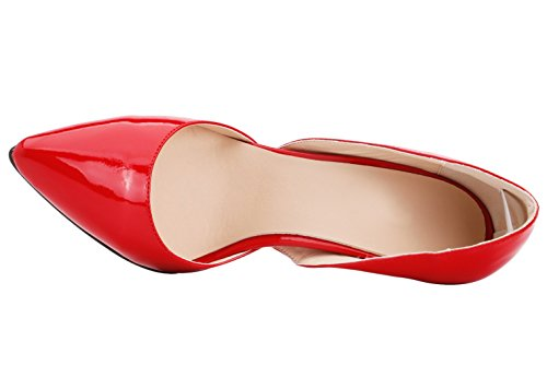 Toe Wedding Pointed Orsay Stiletto Women's Pumps D HooH Red I7xqfw1