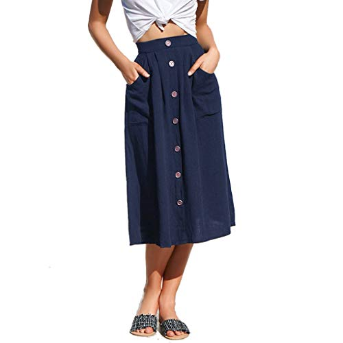 (INIBUD Midi Skirt for Women Button Decoration Elastic Waist Retro Solid with Pockets A Line Swing Casual Summer (Navy, S))