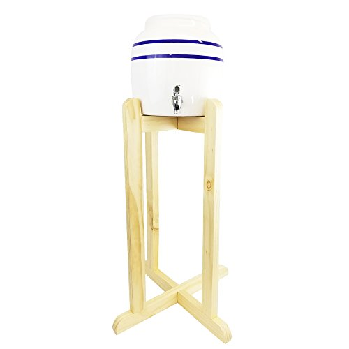 (Porcelain Water Dispenser Blue Stripe with Wooden Stand)