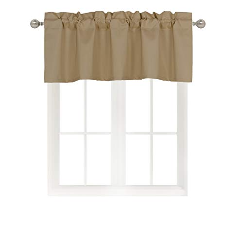 - Home Queen Solid Rod Pocket Blackout Curtain Valance Window Treatment for Living Room, Short Straight Drape Valance, Set of 1, 54 X 18 inch, Taupe