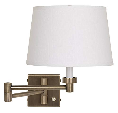 (Antique Brass with White Linen Shade Plug-in Swing Arm Wall Lamp - Barnes and)