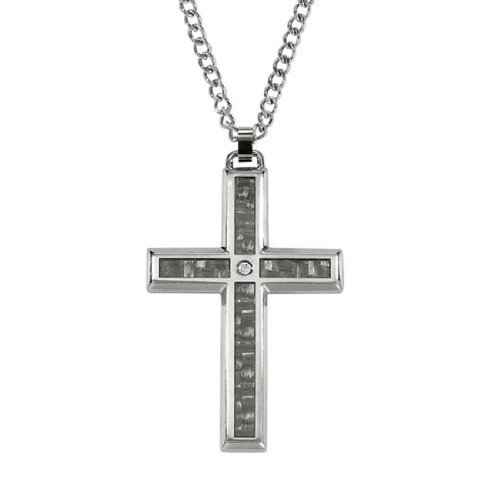 STEL Stainless Steel Carbon Fiber Diamond Cross Pendant. 24