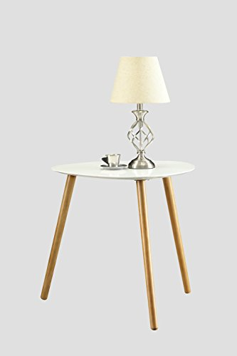 Convenience Concepts Oslo End Table, White - White piano finish table top Solid wood legs Easy assembly - living-room-furniture, living-room, end-tables - 31uMmDMj5fL -