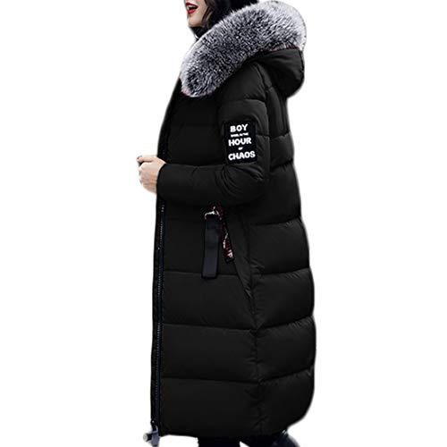 Cappotto Cerniera Lunga Cappuccio Nero Media Sezione Yefree Abbigliamento Stampa Addensare Femminile Nuovo Inverno E qa7wfZXa