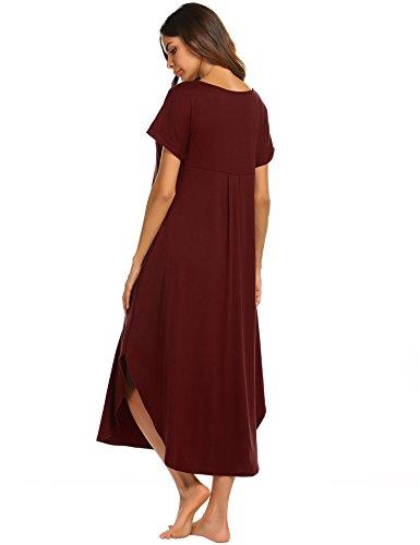 Ekouaer Plus Size Nightshirt Women's Short Sleeve Sleep Gown Soft Long Nighty Dress (Wine Red,XXL) by Ekouaer (Image #4)