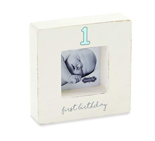 (Mud Pie Keepsake Baby Frames (Blue First Birthday)