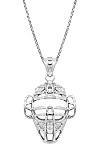 """Sterling Silver Baseball Back Catcher Mask Necklace Pendant with 18"""" Box Chain"""