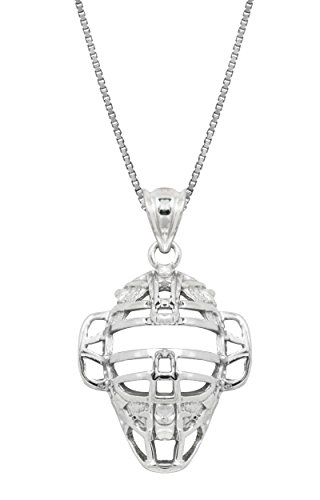 Honolulu Jewelry Company Sterling Silver Baseball Back Catcher Mask Necklace Pendant with 18