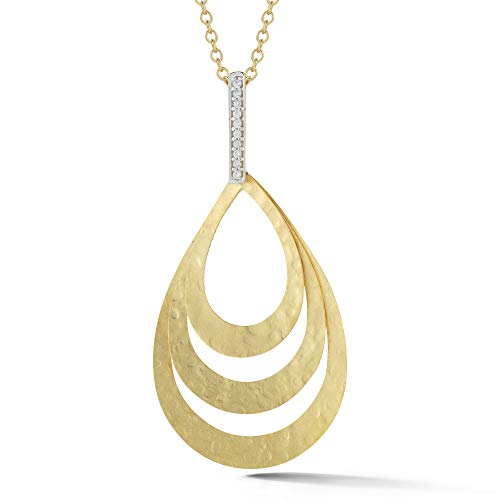I REISS 14K Yellow Gold 0.06ct TDW Diamond Accent Concentric Tear-Drop Pendant Necklace ()
