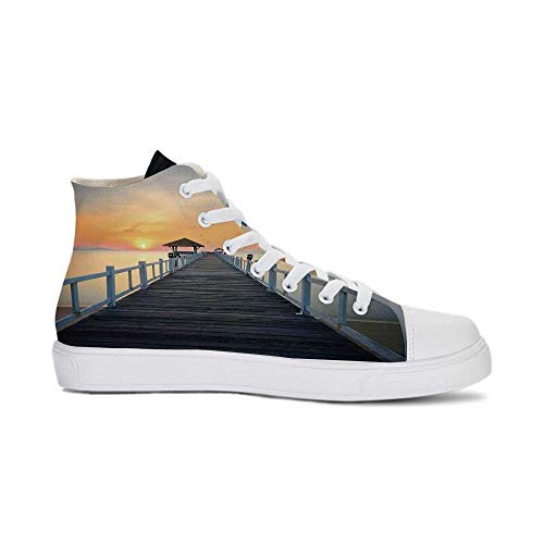 YOLIYANA Apartment Decor Durable High Top Canvas Shoes,Long Exposure Deck Path by Sea Shore with Horizon Sunset Landscape for Men,US 10.5