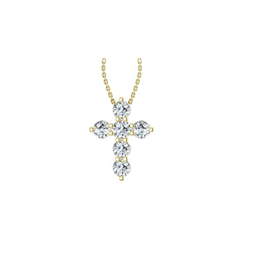 14k Yellow Gold timeless cross pendant beautifully set with 6 glistening white diamonds, (1/2 ct t.w, H-I Color, I1 Clarity), hanging on a 18