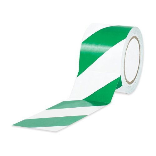 BOXT9336GW - 3 x 36 yds. Green/White Striped Vinyl Safety Tape by Box Partner