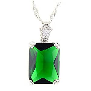 Pendant Rectangle Green Emerald White Gold Plated Cubic Zirconia with Necklace