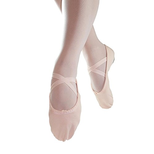 Soles Canvas (Danzcue Adult Split Sole Canvas Pink Ballet Slipper 6 M US)