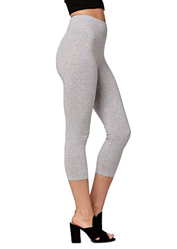 Premium Ultra Soft Stretch High Waisted Cotton Leggings for Women with Yoga Waistband - Capri Heather Grey - Large ()