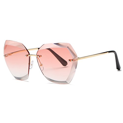 AEVOGUE Sunglasses For Women Oversized Rimless Diamond Cutting Lens Sun Glasses AE0534 (GoldΠnk, -