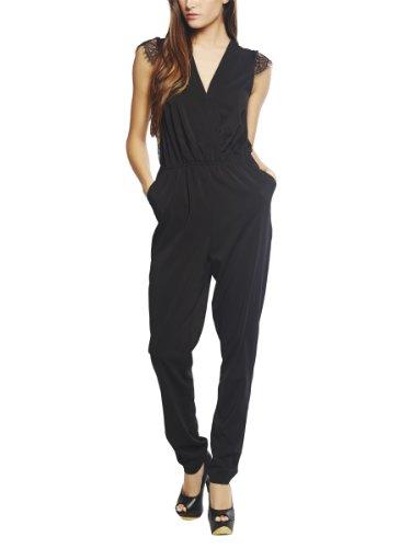 Arden B. Women's Lace Back Surplus Harem Jumpsuit M Black