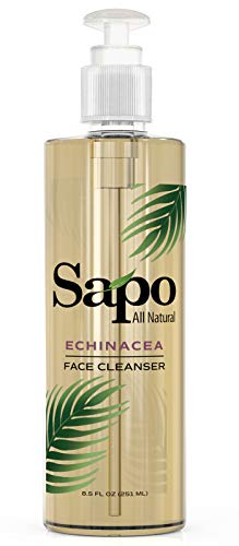 Sapo All Natural Echinacea Face Cleanser. Antiacne and Antiaging Facial Cleanser. A Facewash for All Skin Types with Vitamin B, C and E. Healing, Hydrating and Rejuvenating. Made in the US. 8.5 Oz