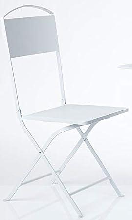 DiKasa Chaise Pliante Fer Blanc Lisse 38 X 47 94