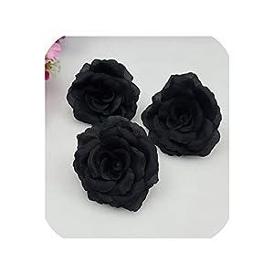Pink-star 1pc 8cm Gold Silk Rose Artificial Flower Wedding Home Furnishings DIY Wreath Sheets Handicrafts Simulation Pretty Fake Flowers,Black,8cm 93