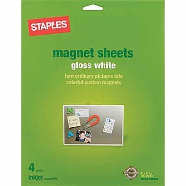 [Staples Inkjet Magnetic Sheets - 8.5 x 11-inches - 4 Sheets per Pack (3 Packs)] (Glossy Magnetic Paper)