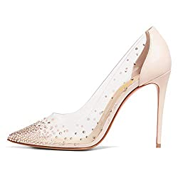 Light Pink Studded Pointed Toe Transparen Heels with Bowknot