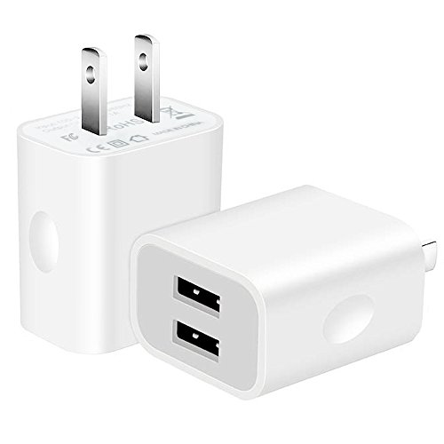 USB Wall Charger,2-Pack 10.5W/2.1A Universal 2-Port USB Wall Plug Power Adapter for iPhone X, 8/8 Plus 7/7 Plus, 6/6 Plus 6S, iPad, Samsung Galaxy S5 S6 S7 Edge, Nexus, LG, HTC -White