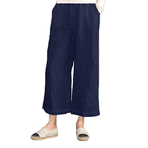 iYYVV Womens Elastic Waist Casual Cotton Linen Loose Trousers Cropped Wide Leg Pants Navy