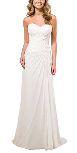 Vivebridal Women's A-Line Chiffon with Pleat Lace Up Beach Wedding Dress White 20w