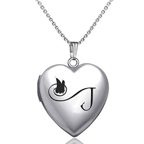 MUERDOU Locket Necklace That Holds Pictures Initial Alphabet Letter Heart Shaped Photo Memory Locket Pendant Necklace (J)