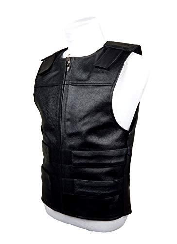 Black Leather - Bulletproof Style Motorcycle Vest -