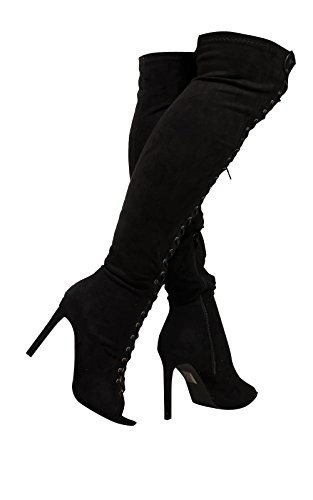 Ikrush Womens Margen Lace up Faux Suede Boots Black S 4rRzHi3g9
