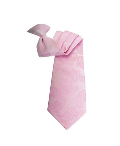 Woven Poly Mens Tie (Paisley Multi Pattern Poly Woven Clip on Tie , Pink)