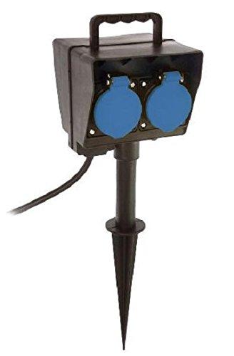 as - Schwabe 60685 Erdspieß mit Timer, 2m H05RN-F 3G1,5, schwarz, IP44 Aussenbereich