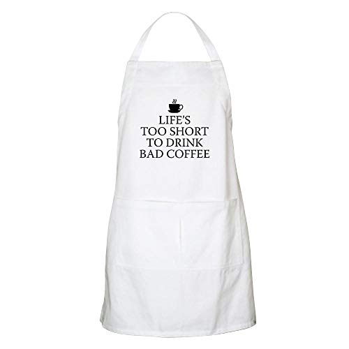 CafePress Life's Too Short to Drink Bad Coffee Apron Kitchen Apron with Pockets, Grilling Apron, Baking Apron