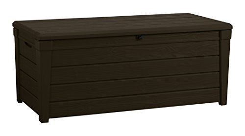 Keter Brightwood Outdoor Plastic Storage Box Garden Furniture, 145 x 69.7 x 60.3 cm - Brown